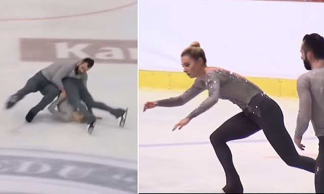 Figure skater crashes head first into the ice after a tricky lift