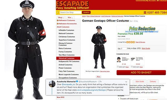 Auschwitz museum calls for British shop to remove Gestapo costume