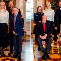 Norwegian royal family pose for a traditional Christmas portrait