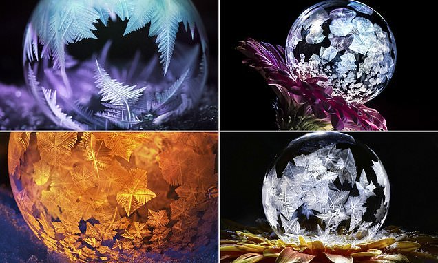Mesmerising beauty of ice patterns formed inside soap BUBBLES