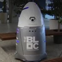 Robocop-style security guards used in a LA shopping mall