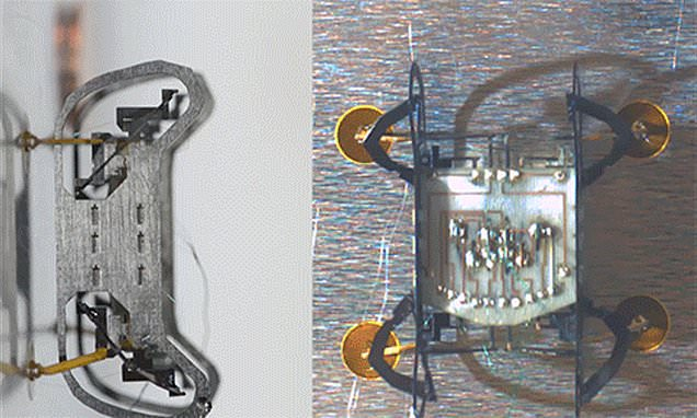 Machine with sticky feet can can climb up, down, and around engines