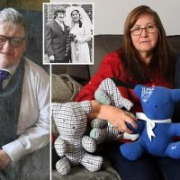 Grieving wife makes toys out of husband's clothes for grandchildren