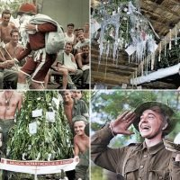 Colourised photos show US soldiers marking Christmas during WWII