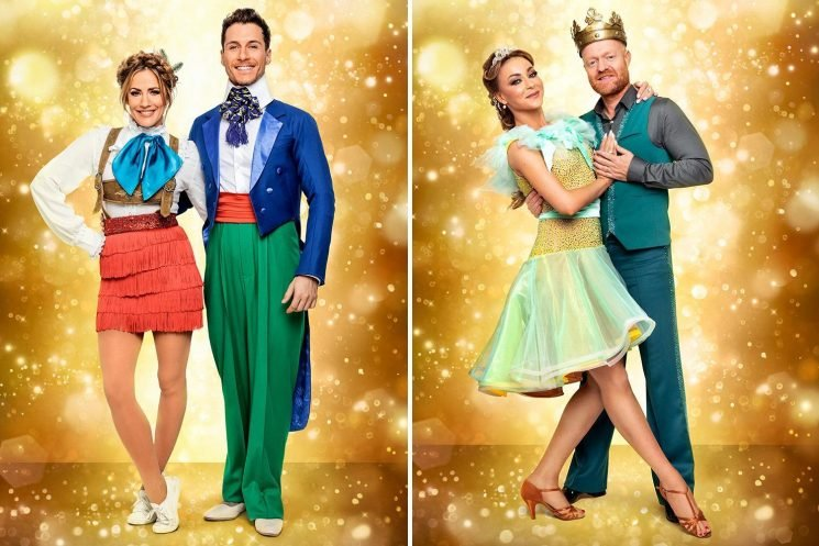 Strictly Christmas special stars get their panto gear on as Caroline Flack, Jake Wood and Ann Widdecombe take to the dancefloor