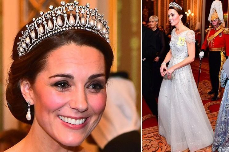 Kate Middleton wears Princess Diana's stunning tiara as she joins Prince Wills and the Queen for Buckingham Palace bash