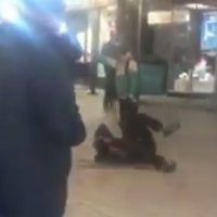 Moment have-a-go hero Deliveroo driver breaks up 'attack on homeless man at Christmas market'