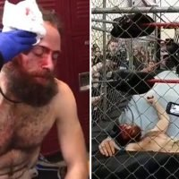 Wrestling fans stunned as IWC star is thrown THROUGH ring in steel cage match