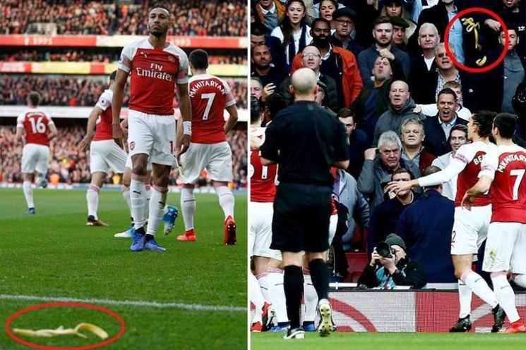 Four men charged after Tottenham fan 'threw banana skin at Pierre-Emerick Aubameyang' in Arsenal match