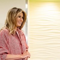 Melania Trump Looks Like Giant Candy Cane In Festive Jacket & Shoes Visiting D.C. Hospital