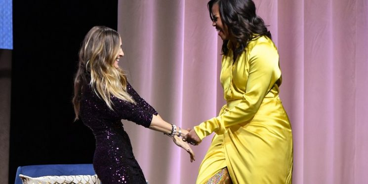 Michelle Obama Swerves in Glittery Balenciaga Thigh High Boots