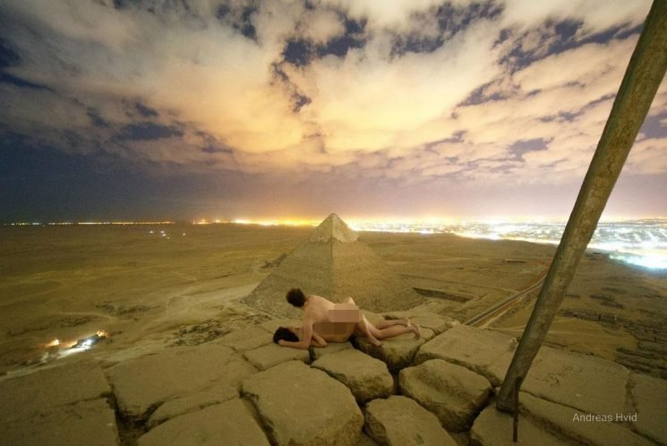 Sex on top of the Great Pyramids man has library of pics of naked women on top of skyscrapers