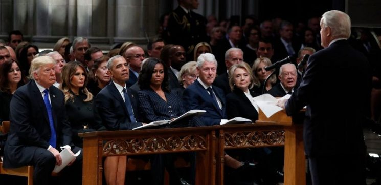 Trumps, Obamas, and Clintons' Greetings Include 'Cold Shoulder' At Bush Funeral