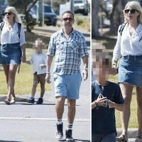 Holly Willoughby shows off her legs in denim miniskirt as she enjoys day out with husband Dan and their kids ahead of I'm A Celebrity final
