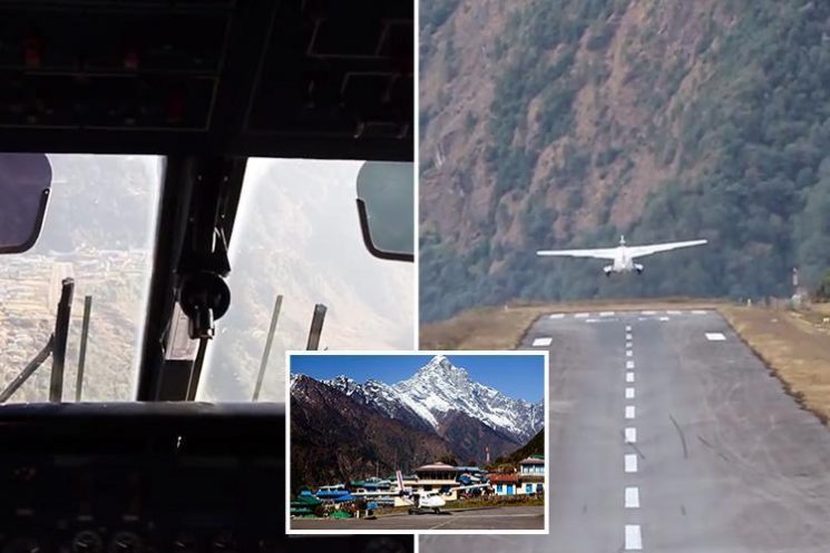 Terrifying video shows plane land at 'world's most dangerous airport' at Everest base camp