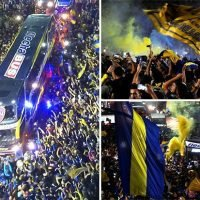 Boca Juniors fans flood streets to see team off ahead of Copa Libertadores final with incredible fireworks display