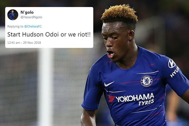 Chelsea fans plead with Maurizio Sarri to finally give youth a chance and start Hudson-Odoi in Europa League tie with PAOK