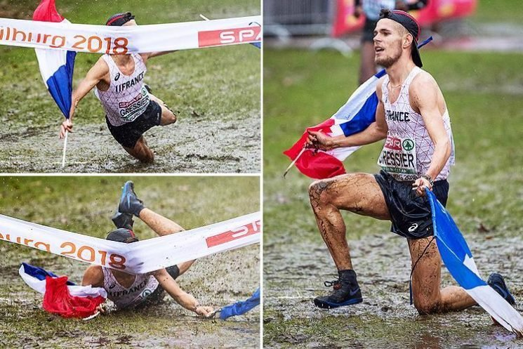 Watch cross country runner Jimmy Gressier knee-slide over finish line… but get it hilariously wrong