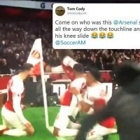 Watch Arsenal star Stephan Lichtsteiner hilariously stumbles over trying to celebrate Alexandre Lacazette's goal against Tottenham