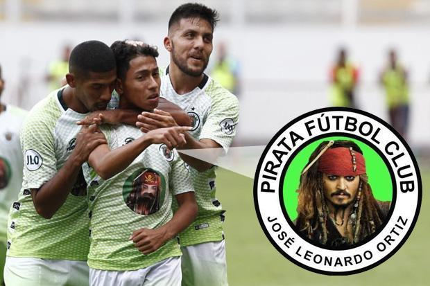 Peru Cup winners Molinos El Pirata put Johnny Depp on shirts in tribute to Pirates of the Caribbean star Jack Sparrow