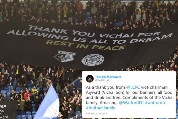 Son of tragic Leicester owner gives Watford fans free food and drink in amazing gesture to say thank you for touching banner