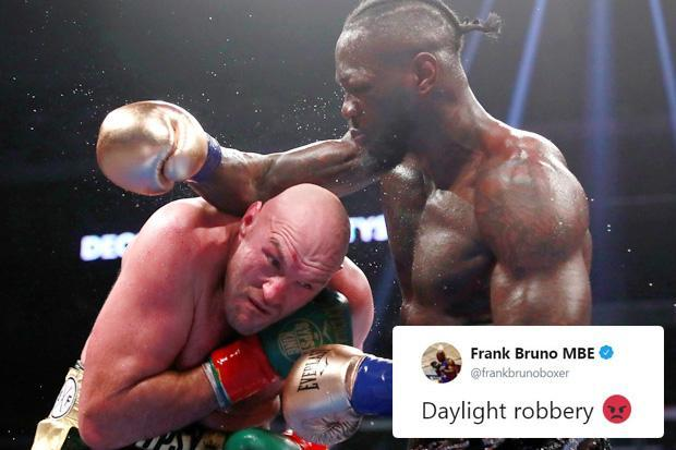 Frank Bruno leads fans and pundits fuming over Tyson Fury result against Deontay Wilder