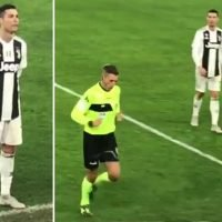 Cristiano Ronaldo watches VAR with ref as he stands by side of pitch in Juve clash