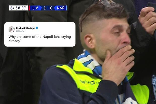 Napoli fan cries in 38th minute against Liverpool and Twitter users cannot believe it