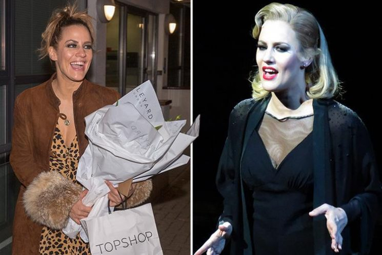 Caroline Flack grins in leopard print after her debut as Roxie Hart in West End show Chicago