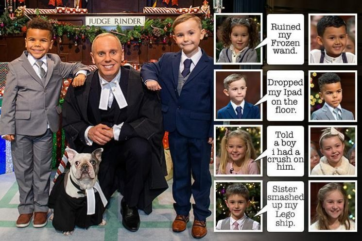 Four Judge Rinder cases show how justice is served kids-style on this hilarious Christmas TV special