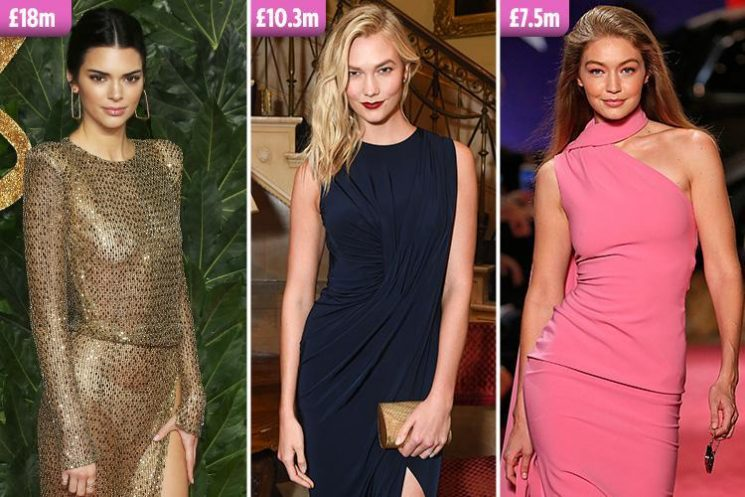 Kendall Jenner is the highest paid model in the world with £18m fortune, beating Karlie Kloss, Rosie Huntington-Whiteley and Gigi Hadid