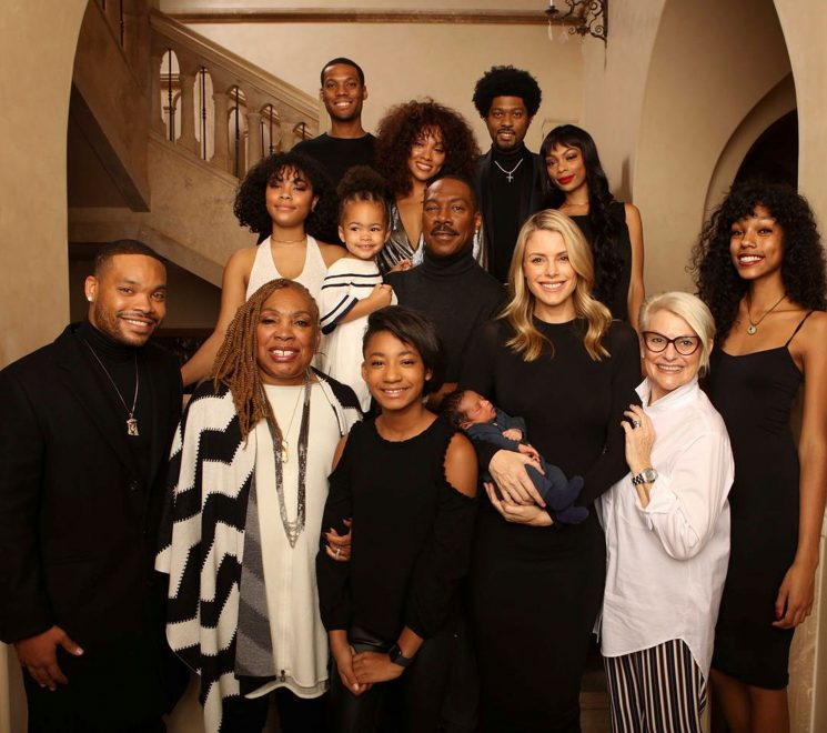 Eddie Murphy Introduces 3-Week-Old Son Max in Christmas Family Photo Featuring Actor's 10 Children & Fiancée Paige Butcher