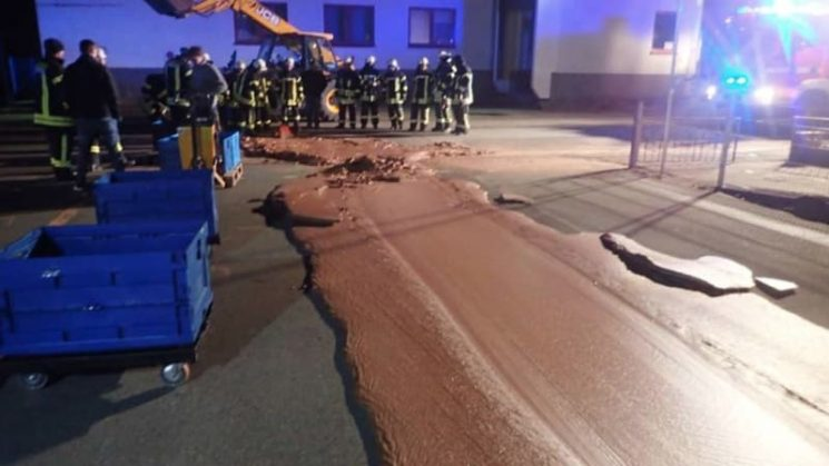 'Willy Wonka, that you?' A tonne of chocolate flooded a German street