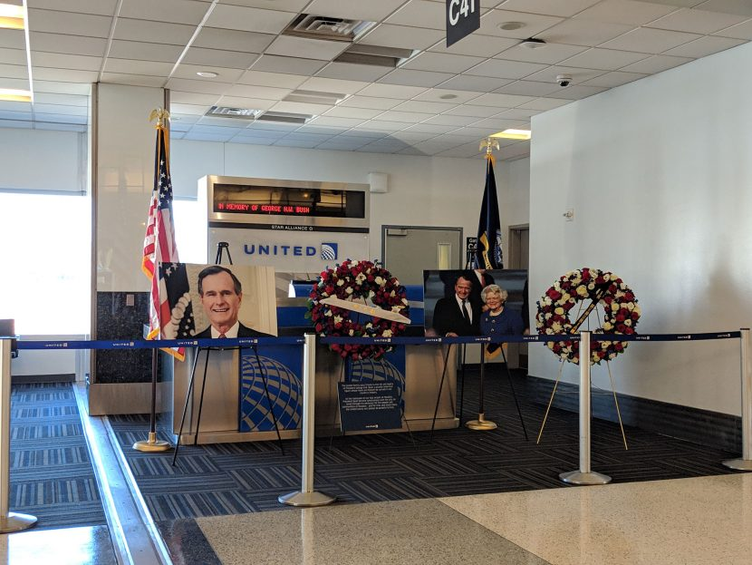 Gate 41 Was Closed at George Bush Airport in Houston Yesterday in Honor of the Late President