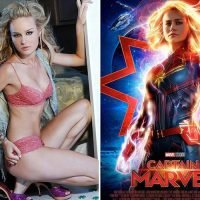 Brie Larson looks out of this world in a skimpy two piece ahead of her Marvel debut