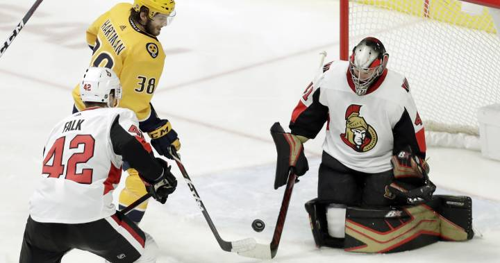 Ellis scores go-ahead goal as Nashville Predators beat Ottawa Senators 3-1