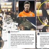 Hennessey denies performing 'Nazi salute' during meal out on Saturday