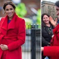 Moment Meghan Markle reveals baby's due date in Birkenhead