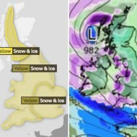 UK weather charts show SNOW BOMB forecast to hit Britain TOMORROW sparking travel chaos and power cuts