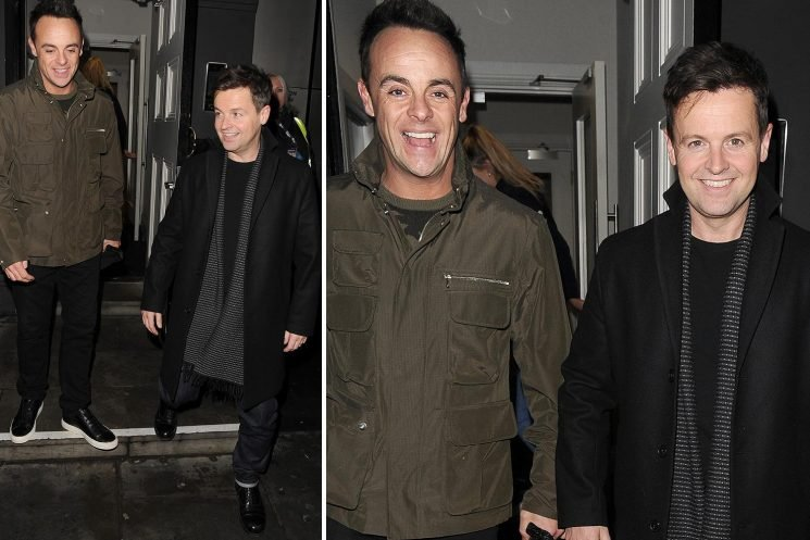 Ant McPartlin and Declan Donnelly are all smiles as they leave Britain's Got Talent auditions after triumphant NTAs win
