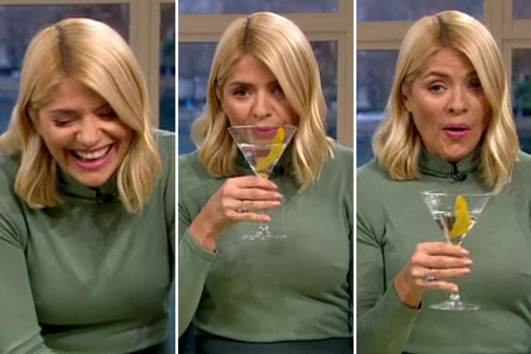 Holly Willoughby gets the giggles after drinking straight vodka cocktail on This Morning