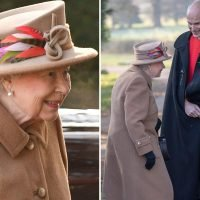 Queen smiles as she attends chilly church service without Prince Philip three days after the Duke of Edinburgh's crash