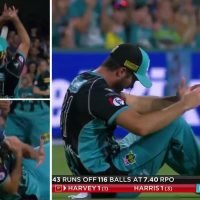 Watch sickening moment cricket star is left with bloodied face as he fluffs catch
