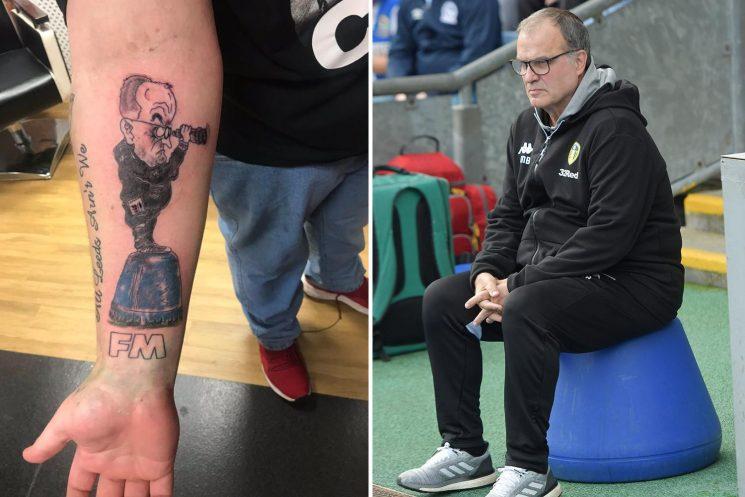 Leeds fan gets behind Bielsa with hilarious tattoo of SpyGate boss