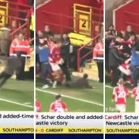 Charlton fan slips and kicks Arsenal loanee Bielik in BALLS after invading pitch to celebrate