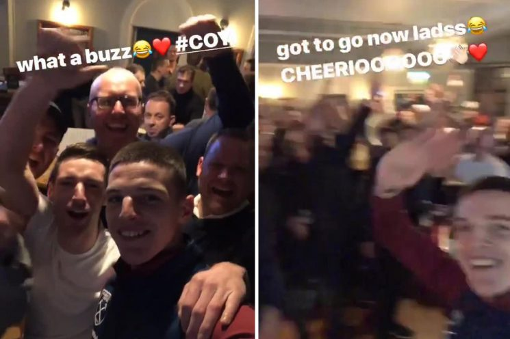 West Ham goal hero Declan Rice celebrates Arsenal winner with Hammers fans