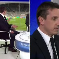 Gary Neville looks 'horrified' after being heckled by Newcastle fan on live TV