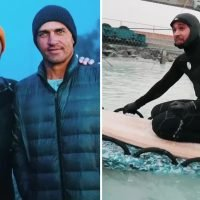 Lewis Hamilton enjoys F1 off season as he surfs with legend Kelly Slater