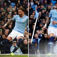 Man City's thrashing of Burnley halted after corner flag snapped in half after 'big hit' from Walker