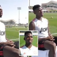 Man United star Paul Pogba shows off outrageous first touch… during TV interview